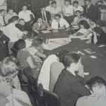 Reunião do comando da Greve dos Bondes, maio 1956. (Acervo UBES)