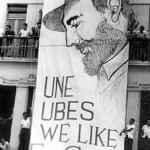 Bandeira a favor de Fidel Castro na antiga sede das entidades estudantis no RJ