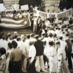 Passeata estudantil a favor de Cuba, em 1960