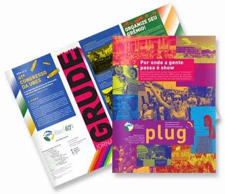 Uma capa de jornal PLUG e outra capa de jornal GRUDE