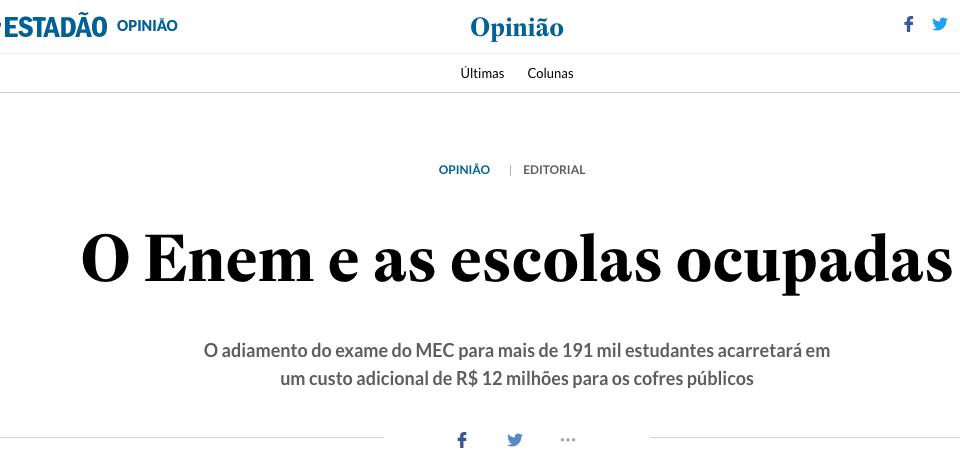 Editorial falacioso do jornal O Estado de S.Paulo sobre o movimento legítimo das ocupações dos estudantes secundaristas