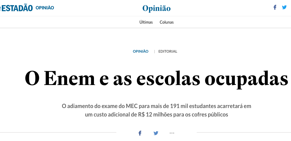 UBES responde editorial do Estadão