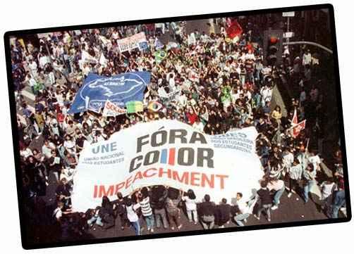 Fora Collor - Protesto dos cara pintadas visto de cima