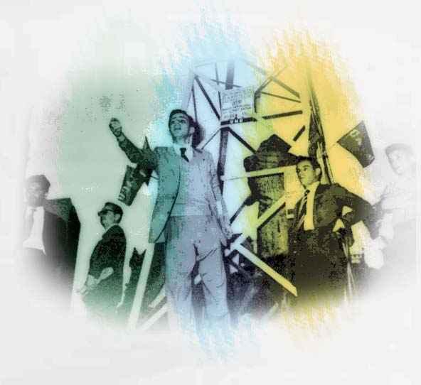 imagem antiga mostrando jovens com ternos, um jovem com o braço levantado em destaque
