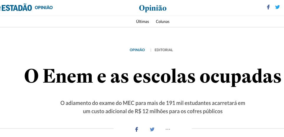 UBES responde editorial do Estadão