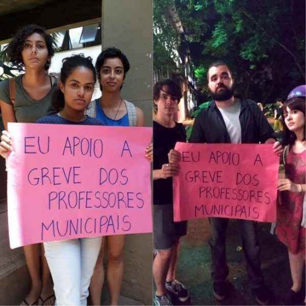 Estudantes participam de ato em solidariedade aos professores agredidos pela polícia em São Paulo
