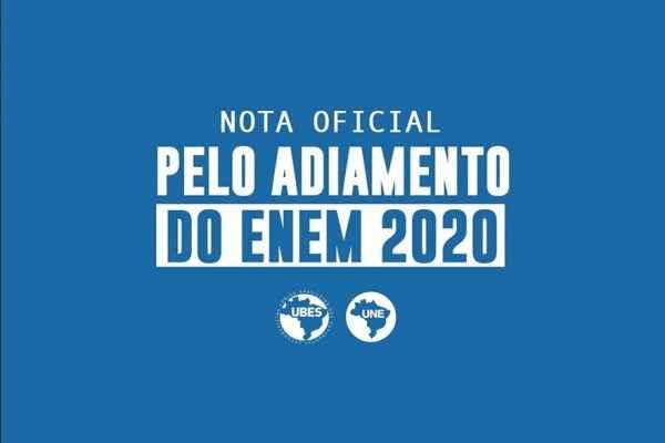 #AdiaENEM: Nota pelo adiamento do ENEM 2020