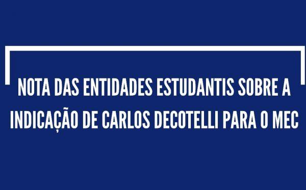 Nota sobre a indicação de Carlos Decotelli para o Ministério da Educação
